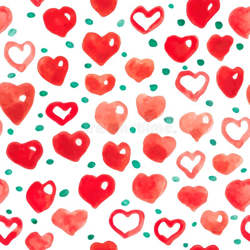 Watercolor hearts seamless background. Pink-red watercolor heart pattern. stock illustration