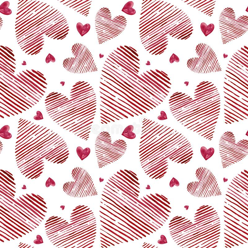 Watercolor hearts seamless background. Pink watercolor heart pattern. Colorful watercolor romantic texture stock illustration