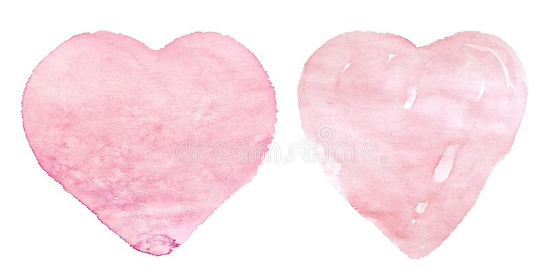 Watercolor pink hearts on white background. Hand made for wedding card, valentine`s day, fabric, clothes royalty free stock image