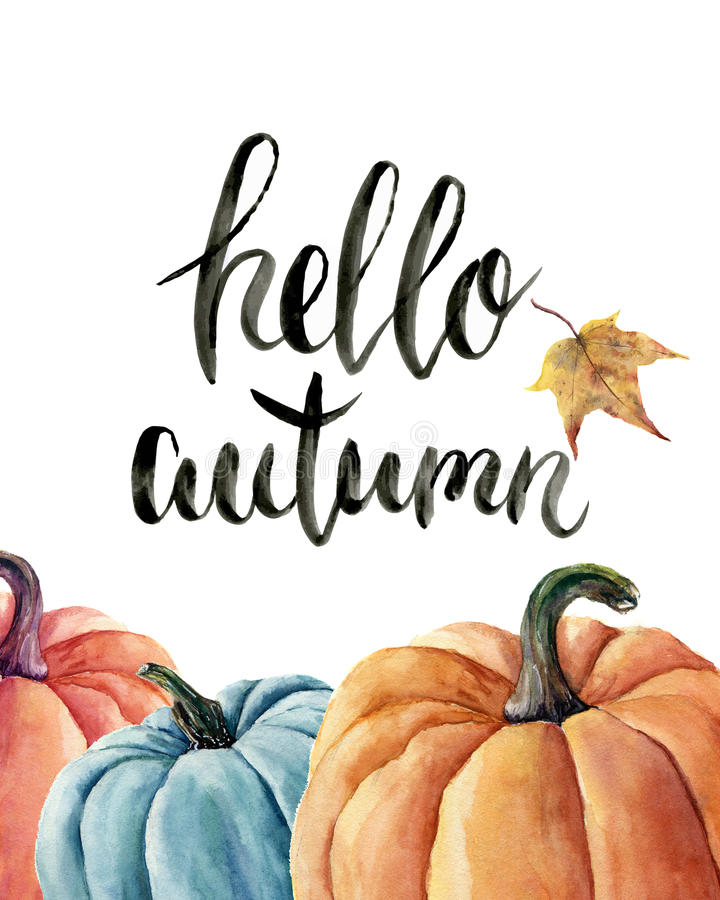 Free Watercolor Hello Autumn Lettering With Pumpkin And Leaf. Hand Painted Orange And Blue Vegetables Isolated On White Background. Royalty Free Stock Photo - 77629985