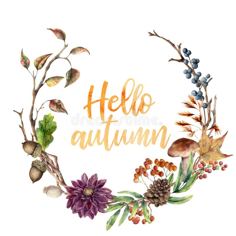 Watercolor Hello autumn wreath. Hand painted wreath with acorn, mushroom, cone, berries, tree branch, flower and leaves. On white background. Illustration for royalty free illustration