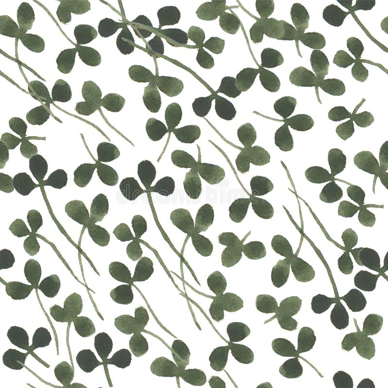 Watercolor herbal clover organic nature floral illustration seamless pattern vector illustration