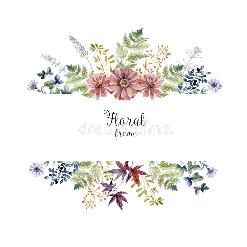 Free Watercolor Herbarium Frame With Flowers And Forest Leaf. Royalty Free Stock Image - 124926866