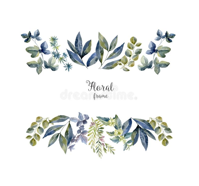 Free Watercolor Herbarium Frame With Flowers And Forest Leaf. Royalty Free Stock Image - 124926896