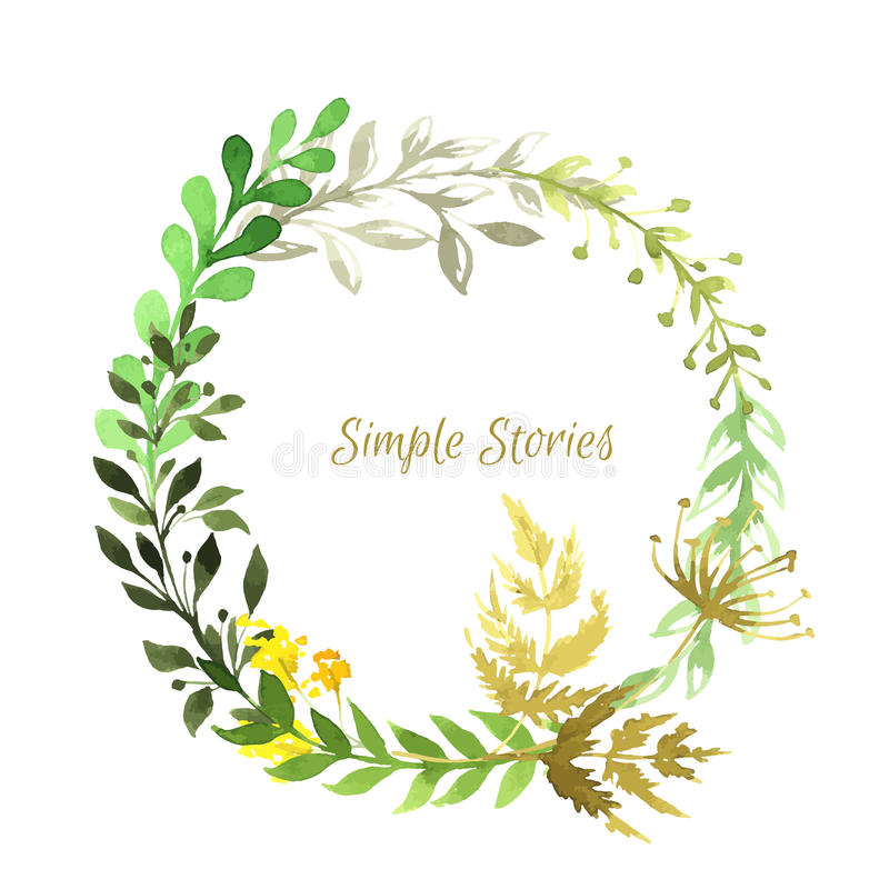 Watercolor herbs and flowers wreath, vector vector illustration
