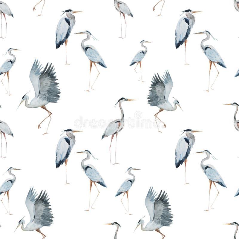 Watercolor heron pattern stock illustration