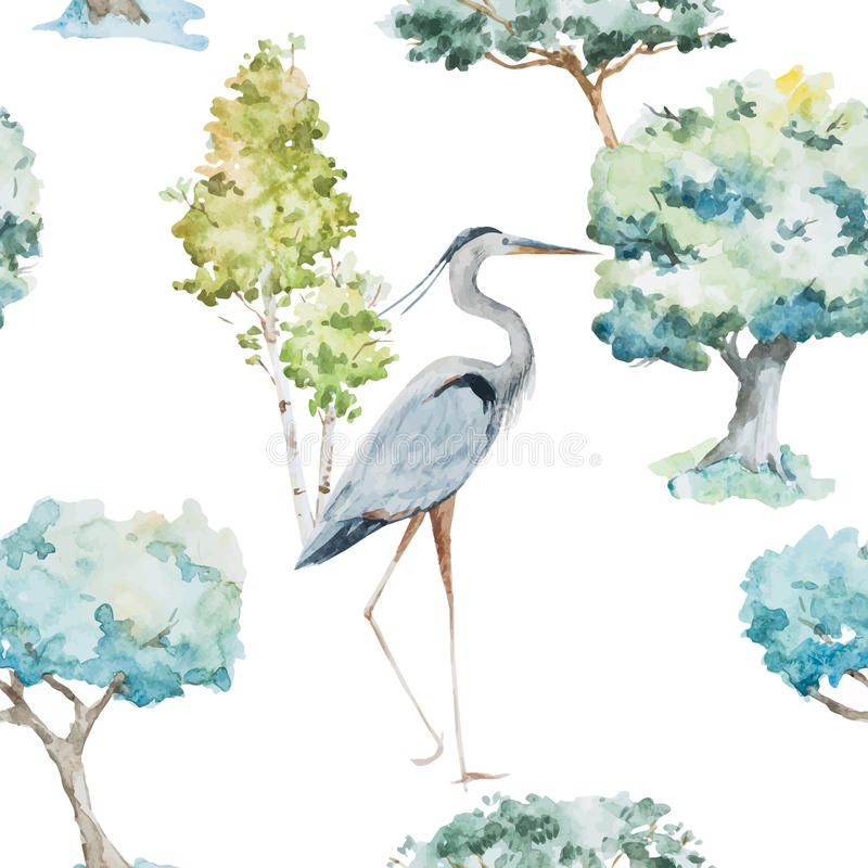 Watercolor herons and trees patterns stock illustration