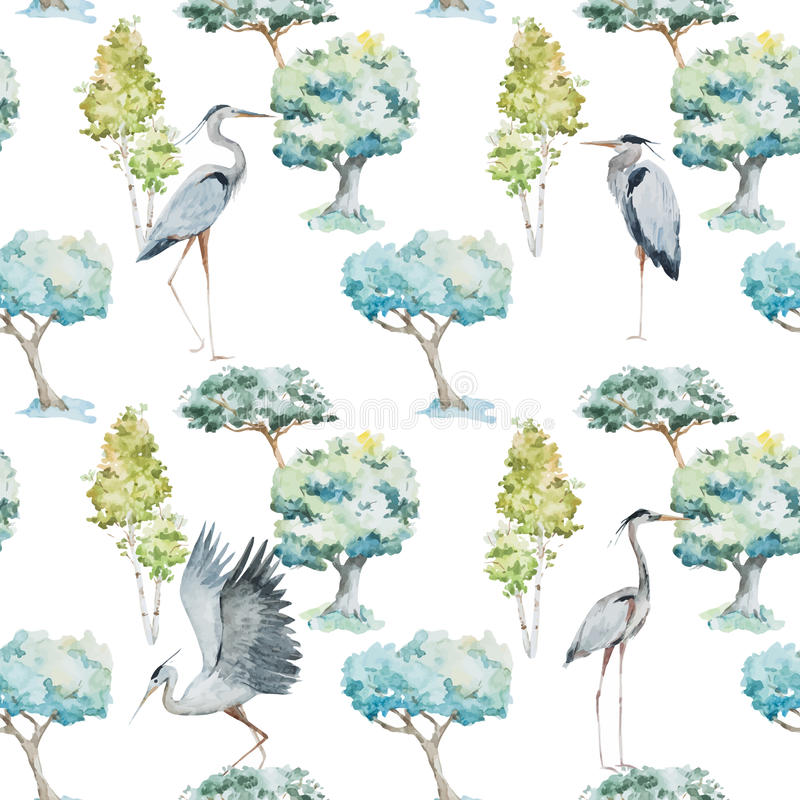 Watercolor herons and trees patterns vector illustration