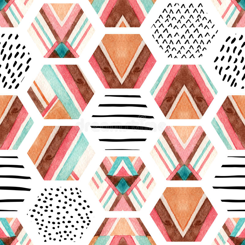 Watercolor hexagon seamless pattern with geometric ornamental elements stock illustration