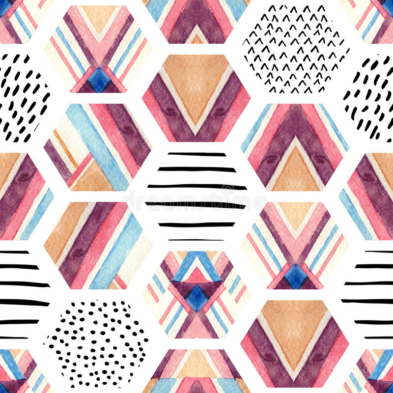 Watercolor hexagon seamless pattern with geometric ornamental elements royalty free illustration