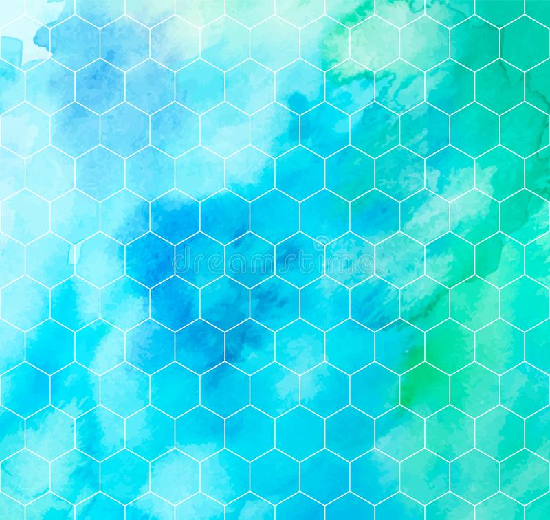 Watercolor hexagon vector pattern royalty free illustration
