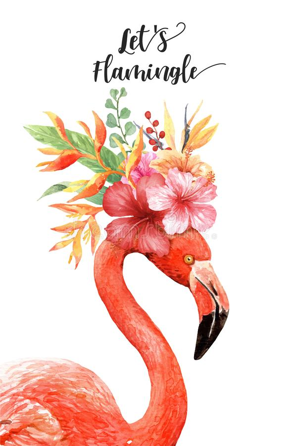 Free Watercolor Hibiscus Flower Bouquet On Flamingo Head. Royalty Free Stock Photos - 140625728