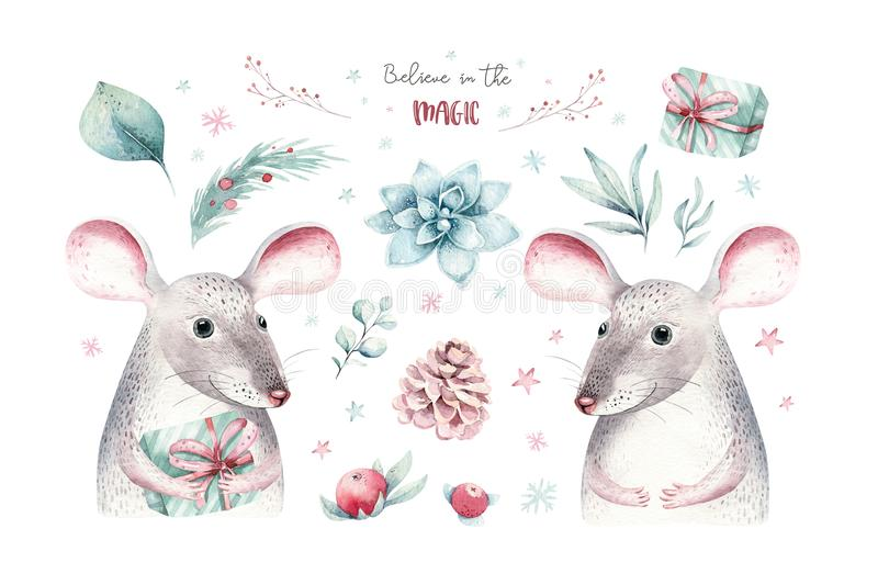 Watercolor holiday christmas rat, mouse clipart. Winter decoration element. Merry christmas design. Pine tree branch royalty free illustration