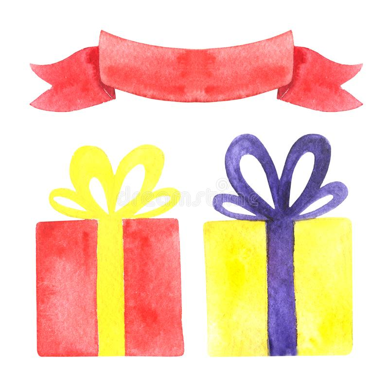 Watercolor holiday illustration, wrapped gift boxes and tape, isolated on a white. royalty free stock image