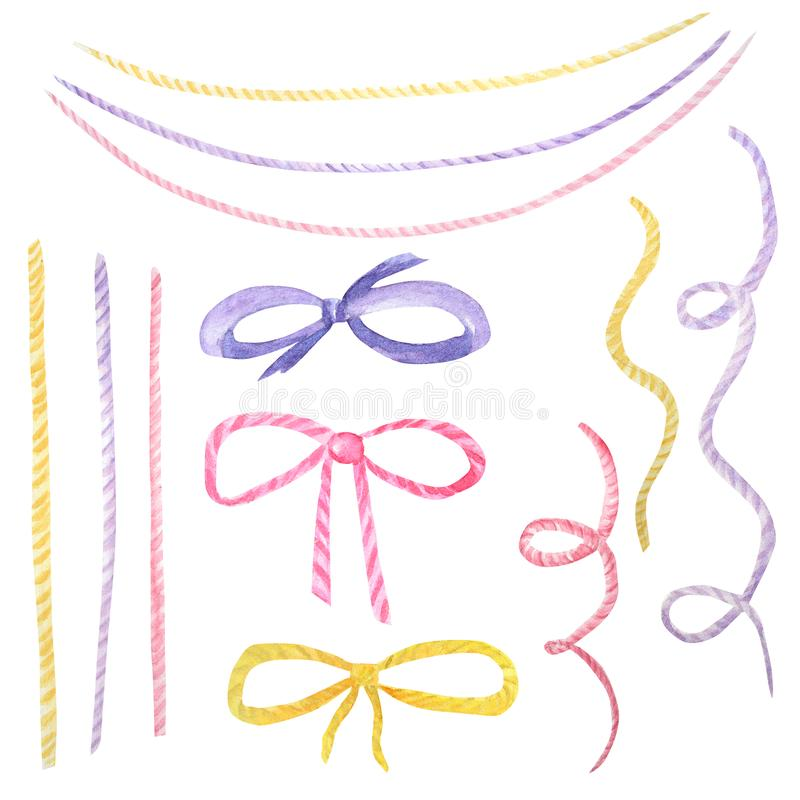 Watercolor holiday multicolored ribbon bow illustration, festive bunting clip art, birthday party design elements set, isolated on royalty free stock images