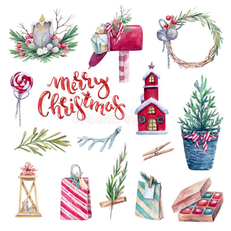 Watercolor holiday set vector illustration