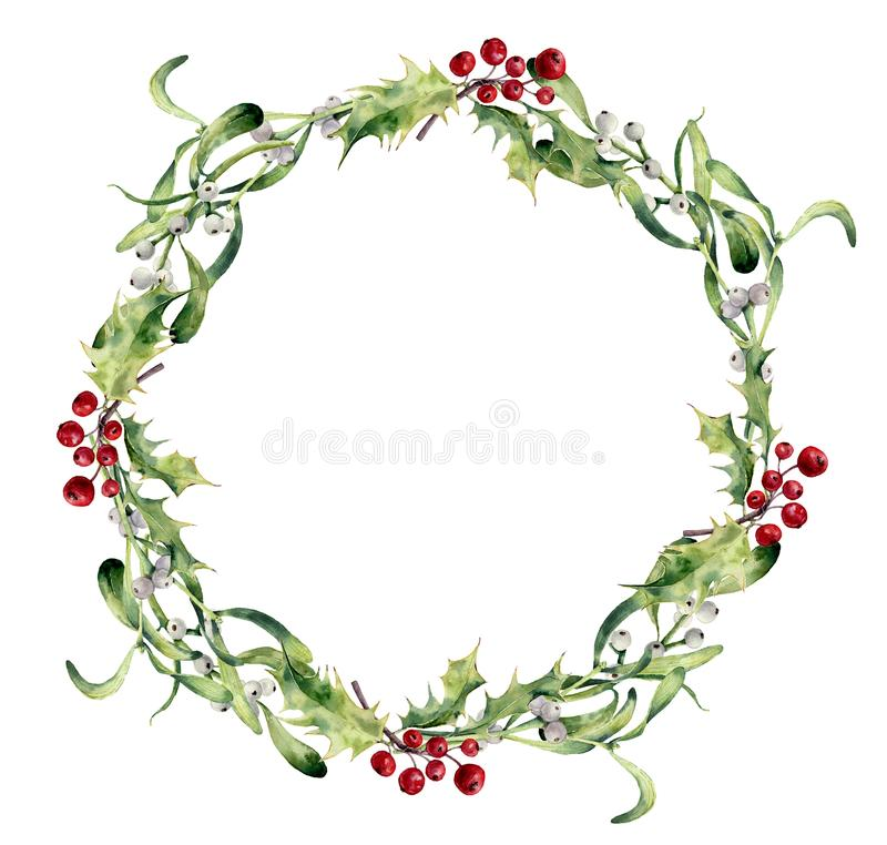 Watercolor holly and mistletoe wreath. Hand painted border floral branch and white berry isolated on white background. Christmas clip art for design or print vector illustration
