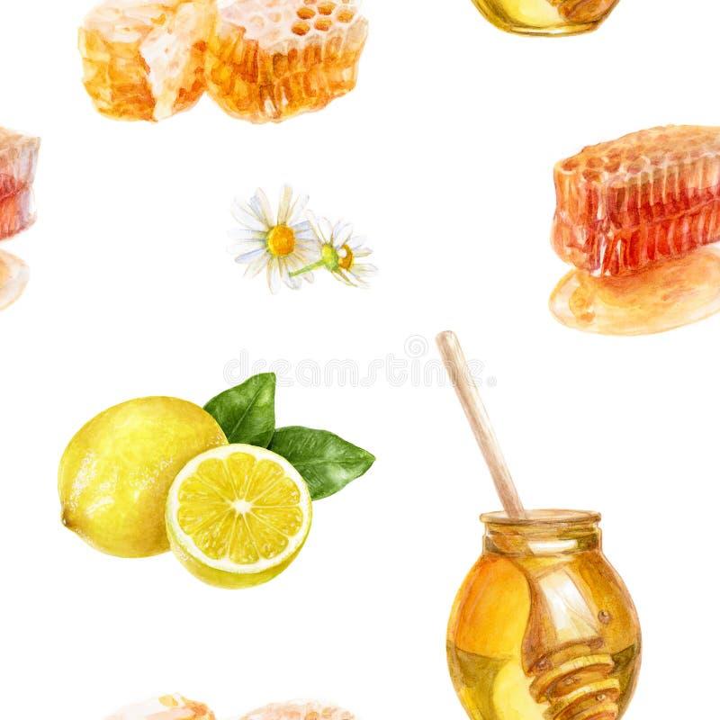 Honey tea hand draw seamless watercolor pattern. royalty free stock photo