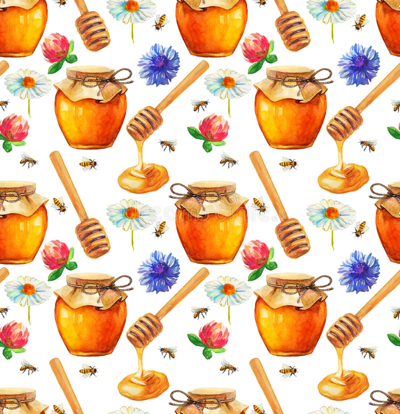 Watercolor Honey seamless pattern stock illustration