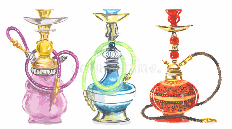 Watercolor hookah set. stock illustration