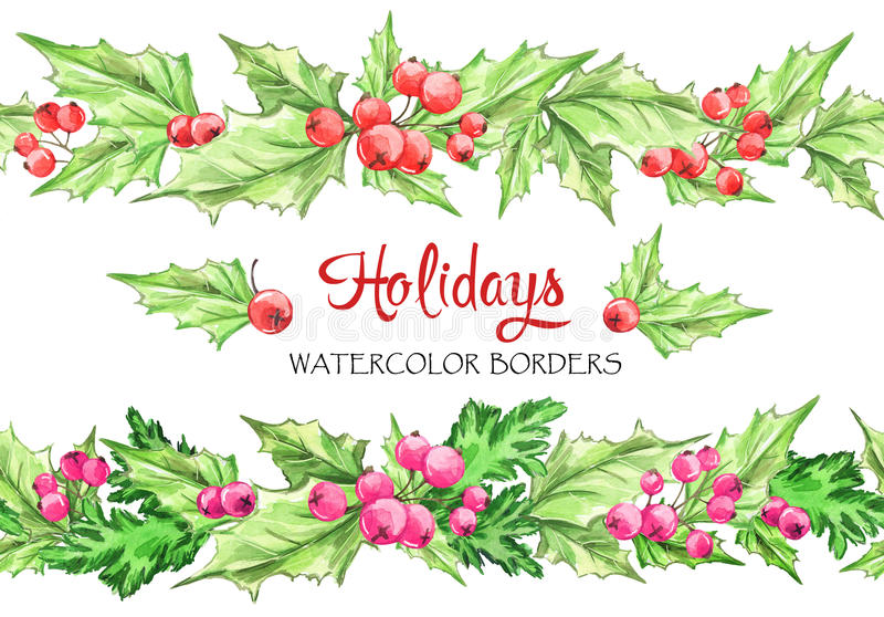 Watercolor horizontal garlands . Hand painted seamless floral borders with rowan and branches. Christmas. New Year. Can vector illustration