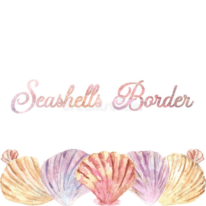 Watercolor horizontal shell border. Perfect for business cards or social media posts stock photos