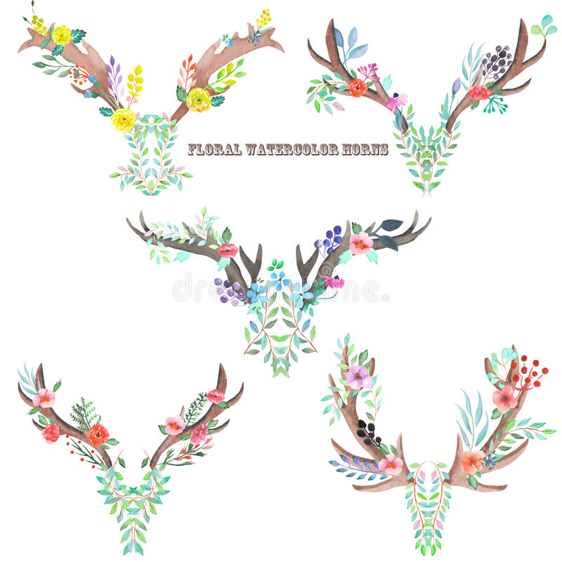 Watercolor horns entwined by flowers, leaves and plants vector illustration
