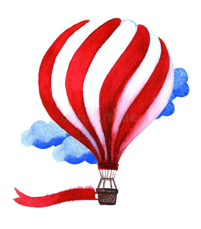 Watercolor hot air balloon. Hand drawn vintage air balloons with. Flag. Illustration on white background. Celebration festive background with balloons. Perfect vector illustration