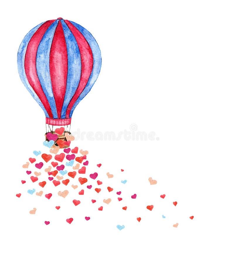Watercolor hot air balloon and many hearts. stock image