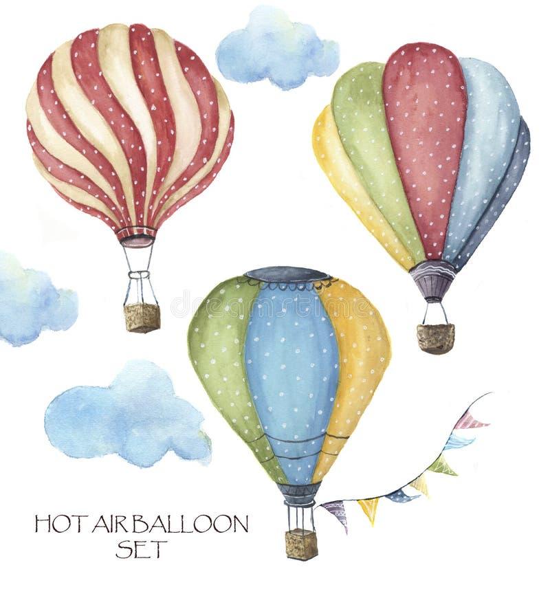 Watercolor hot air balloon polka dot set. Hand drawn vintage air balloons with flags garlands, clouds and retro design. stock illustration