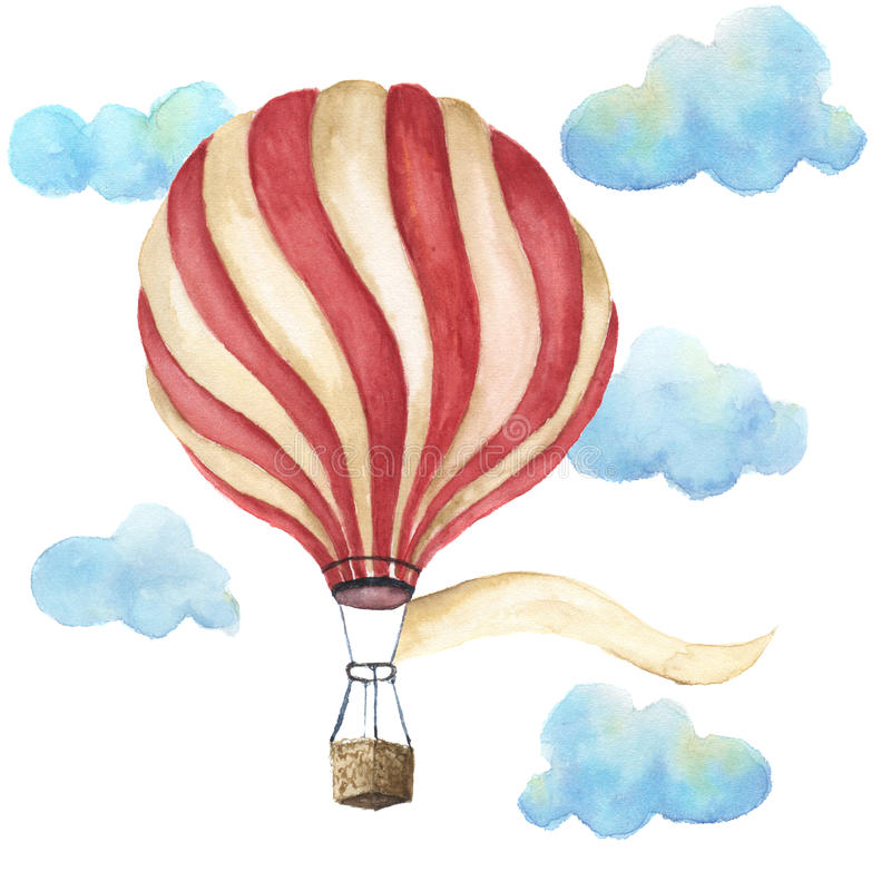 Watercolor hot air balloon set. Hand drawn vintage air balloons with clouds, banner for your text and retro design. Illustrations stock illustration