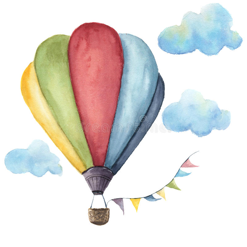 Watercolor hot air balloon set. Hand drawn vintage air balloons with flags garlands, clouds and retro design. Illustrations stock illustration