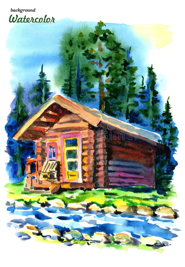 Watercolor house in the forest. Wooden house, pine and spruce on a white background royalty free illustration
