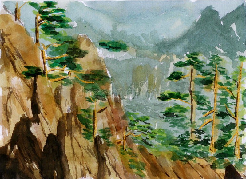 Watercolor huangshan sketch stock illustration