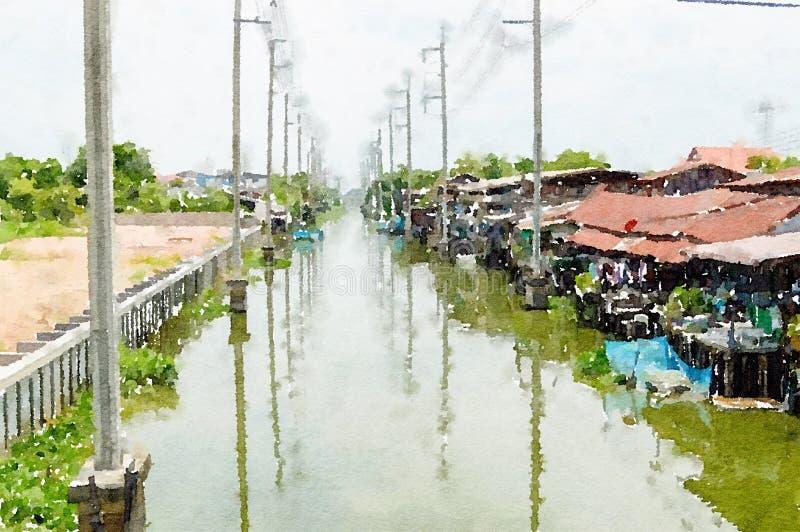 Watercolor of huatakea canal in ladkrabang at bangkok thailand. Art watercolor of huatakea canal in ladkrabang at bangkok thailand royalty free stock photography