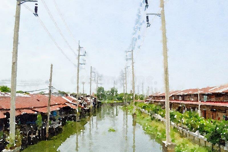 Watercolor of huatakea canal in ladkrabang at bangkok thailand. Art watercolor of huatakea canal in ladkrabang at bangkok thailand stock image