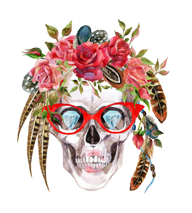 Watercolor human skull in trendy glasses and wreath with flowers and feathers wrapping head. Hand painted hipster portrait illustration on white background vector illustration