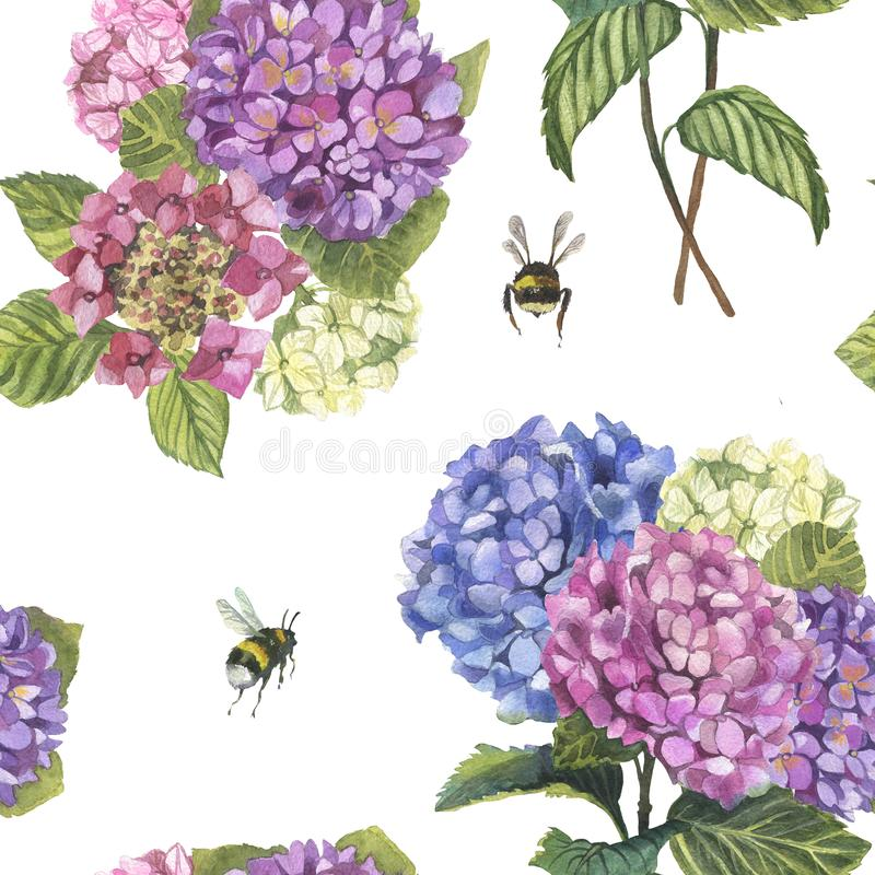 Watercolor hydragenia seamless pattern and branch and bumblebees. Watercolor hydragenia seamless pattern . Hand painted flowers with leaves and branch and royalty free stock image