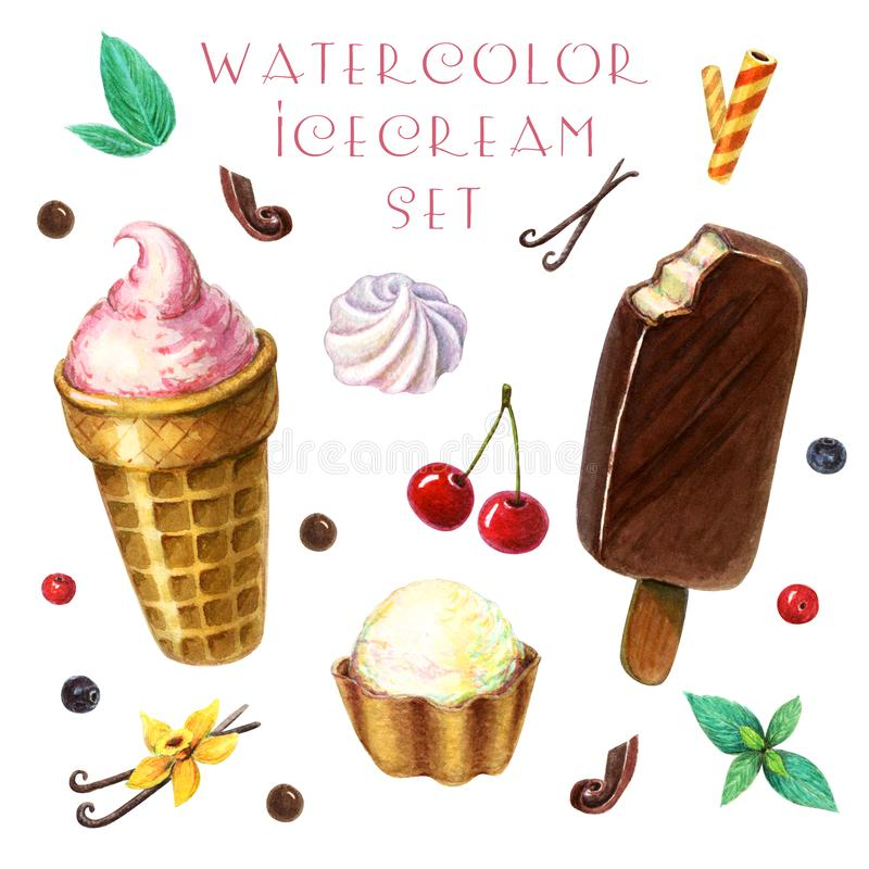 Watercolor ice cream clipart set with berries, fruits and mint leaves. Watercolor ice cream clipart with berries, fruits and mint leaves. ice berry. sundaes royalty free illustration