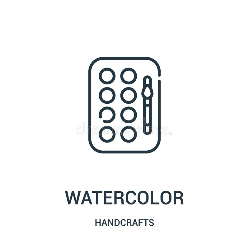 Watercolor icon vector from handcrafts collection. Thin line watercolor outline icon vector illustration. Linear symbol for use on. Web and mobile apps, logo vector illustration
