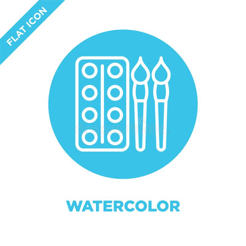Watercolor icon vector from stationery collection. Thin line watercolor outline icon vector  illustration. Linear symbol for use. On web and mobile apps, logo vector illustration