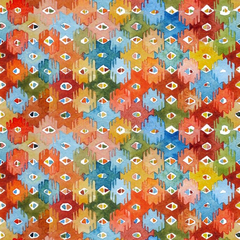 Watercolor ikat kilim ethnic seamless pattern. royalty free illustration