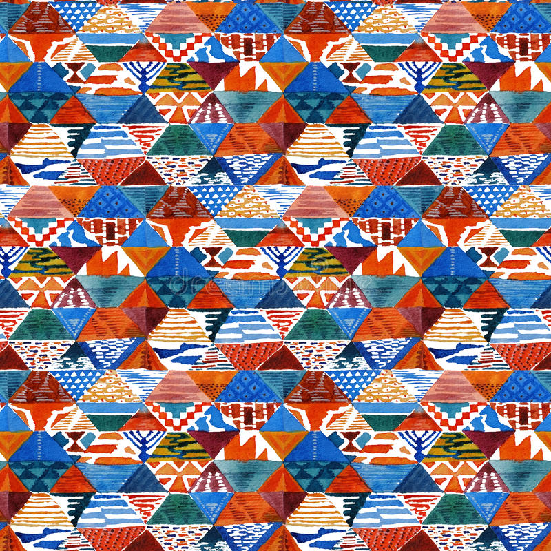 Watercolor ikat kilim patchwork ethnic seamless pattern. stock illustration