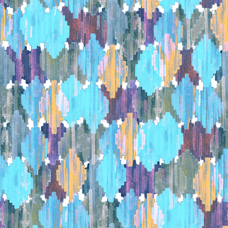 Watercolor ikat seamless pattern. Vibrant ethnic rhombus pattern. royalty free stock images