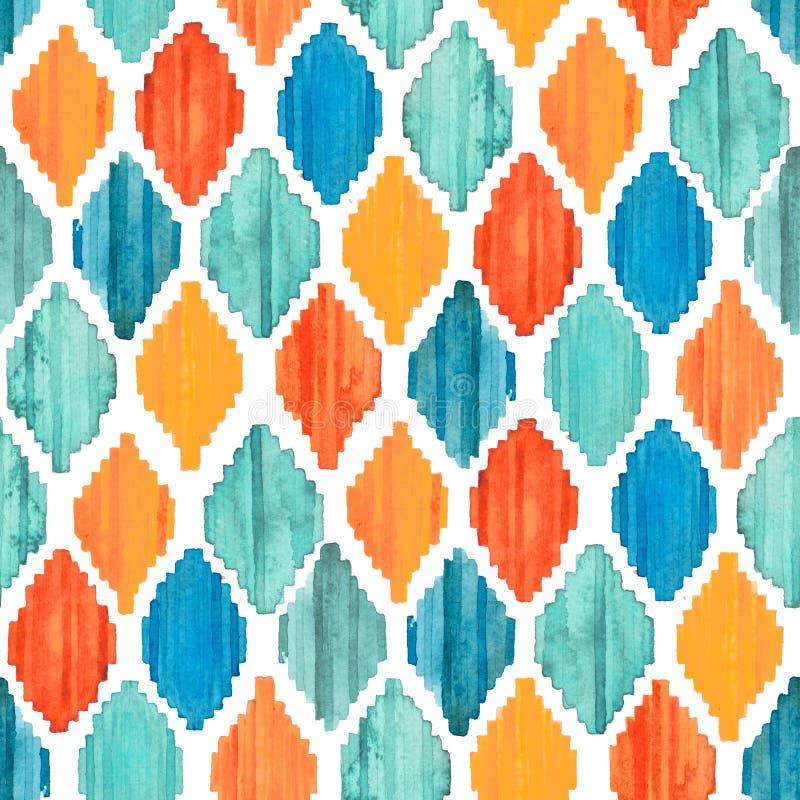Watercolor ikat seamless pattern. Vibrant ethnic rhombus pattern. stock photo