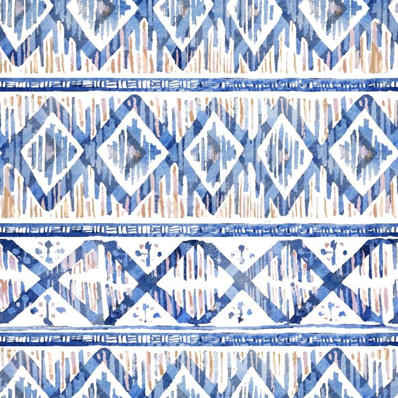 Watercolor ikat seamless pattern. Vibrant ethnic rhombus in watercolour. Watercolor ikat seamless pattern. Vibrant ethnic rhombus pattern in watercolour style stock image