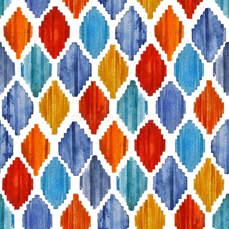 Watercolor ikat seamless pattern. Vibrant ethnic rhombus . royalty free stock photography