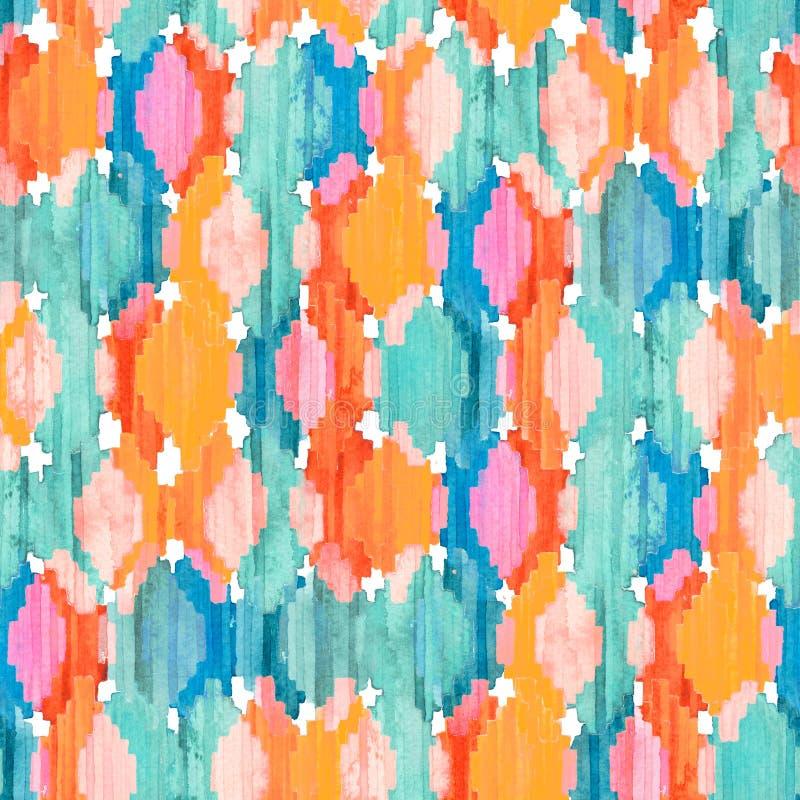 Watercolor ikat seamless pattern. Vibrant ethnic rhombus . stock photos