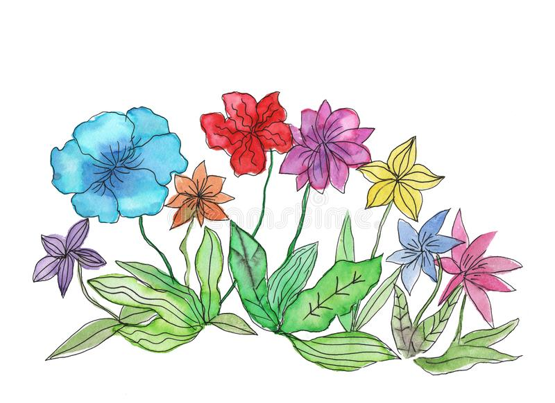Abstract floral watercolor painting royalty free illustration