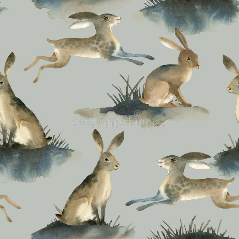 Watercolor illustartion of brown wild hare on white background. Seamles pattern about rabbit on the meadow royalty free illustration